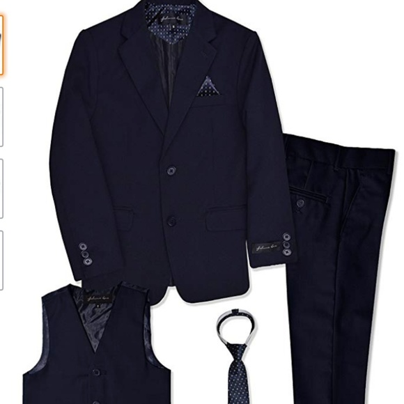 f695001d7 Boys Navy Blue Suit with vest and tie size 16